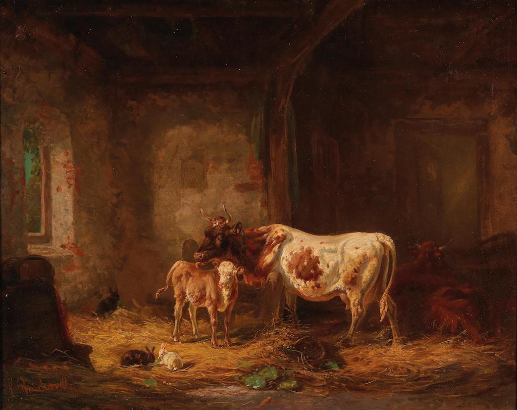 Cows and Rabbits in the Barn (Louis Reinhardt)